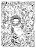 Vector illustration Zen Tangle portrait of a woman in a flower frame. Doodle flowers, forest, garden. Coloring book anti stress fo. R adults. Coloring page Stock Image