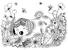 Vector Illustration Zen Tangle, Puppy Sleeps In Flowers. Doodle Drawing. Stock Image