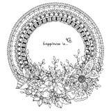 Vector Illustration Zen Tangle, runder Rahmen des Gekritzels mit Blumen Stockfotografie