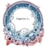 Vector Illustration Zen Tangle, runder Rahmen des Gekritzels mit Blumen, Mandala Lizenzfreies Stockbild