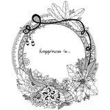 Vector Illustration Zen Tangle, runder Rahmen des Gekritzels mit Blumen, Mandala Malbuchantidruck für Erwachsene Schwarzes Weiß Stockfotografie