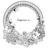Vector Illustration Zen Tangle, runder Rahmen des Gekritzels mit Blumen, Mandala Malbuchantidruck für Erwachsene Schwarzes Weiß Stockfoto