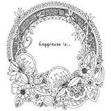Vector Illustration Zen Tangle, runder Rahmen des Gekritzels mit Blumen, Mandala Malbuchantidruck für Erwachsene Schwarzes Weiß Lizenzfreies Stockbild