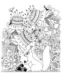 Vector illustration Zen Tangle, squirrel with acorn sitting in flowers. Doodle drawing. Coloring book anti stress for Royalty Free Stock Photo