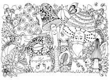Vector Illustration Zen Tangle von Pilzen in der Waldkarikatur, das Gekritzel, mit Blumen Malbuchantidruck für Erwachsene Schwarz Stockfotos