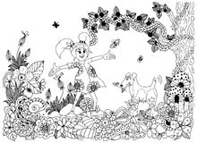 Vector illustration Zen tnagl, girl and dog in flowers. Doodle drawing.  Royalty Free Stock Images