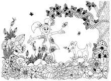 Vector illustration Zen tnagl, girl and dog in flowers. Doodle drawing. royalty free illustration