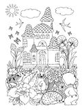 Vector illustration zentagl, a child with the beasts among flowers near the palace. Doodle drawing. Meditative exercises. Coloring stock illustration