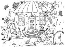Vector illustration zentagl, hedgehog and a house in the forest. Doodle drawing.  Royalty Free Stock Photo
