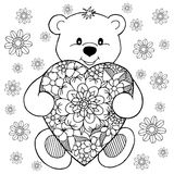 Vector illustration zentagl, a teddy bear enamored with the heart among flowers. Doodle drawing. Meditative exercises. Coloring bo vector illustration