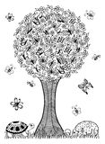 Vector illustration zentagl, turtle and the hedgehog under a tree of butterflies. Doodle drawing. Meditative exercises. Coloring b Royalty Free Stock Photo
