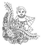 Vector illustration zentangl, baby girl in a flower frame. Doodle drawing. Meditative exercises. Coloring book anti Stock Image