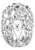 Vector illustration zentangl bear in the floral frame set. Doodle drawing. Meditative exercises. Coloring book anti Stock Photography