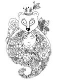 Vector illustration zentangl bear and the girl in flowers the forest. Doodle floral drawing. A meditative exercises Royalty Free Stock Photo