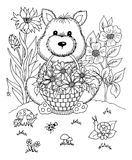 Vector illustration zentangl boy in the flowers on his lap rabbit. Doodle drawing. Coloring book anti stress for adults. Meditativ. E exercises. Black and white Royalty Free Stock Images