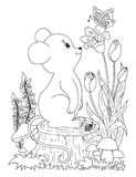 Vector illustration zentangl boy in the flowers on his lap rabbit. Doodle drawing. Coloring book anti stress for adults. Meditativ. E exercises. Black and white Stock Image