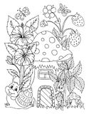 Vector illustration zentangl boy in the flowers on his lap rabbit. Doodle drawing. Coloring book anti stress for adults. Meditativ. E exercises. Black and white Stock Photo