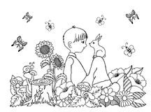 Vector illustration zentangl boy in the flowers on his lap rabbit. Doodle drawing. Coloring book anti stress for adults. Meditativ. E exercises. Black and white Royalty Free Stock Photo