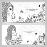 Vector illustration zentangl cards banners woman with dreadlocks in colors. Girl portrait. black  white. Coloring book Royalty Free Stock Photography