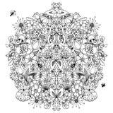 Vector Illustration zentangl, die Blumenkreissymmetrie und dudling, Frühling, Sommer, Blüte Pilze, Schnecke, Schmetterling Lizenzfreie Stockfotografie