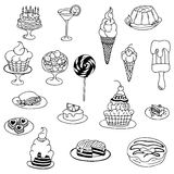 Vector illustration zentangl , doodle Cake, dessert. Meditative exercises. Coloring book anti stress for adults. Black Stock Images