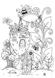 Vector illustration zentangl. Doodle house of strawberries and a bee. Coloring page Anti stress for adults. Black white. Royalty Free Stock Images