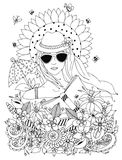 Vector illustration zentangl, doodle portrait of a woman Royalty Free Stock Photos