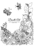 Vector illustration zentangl, floral frame. Doodle drawing. Coloring book anti stress for adults. Meditative exercises. Black and white Stock Photos
