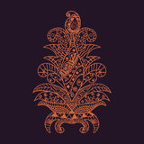 Vector illustration zentangl, flower. Doodle drawing. stock illustration