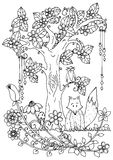 Vector illustration zentangl, fox and wood. Doodle drawing pen. Coloring page for adult anti-stress. Black white. Stock Photo