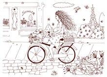 Vector Illustration zentangl Frau, Mädchen auf Fahrrad mit einem Hund Stockfotos