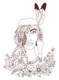 Vector Illustration zentangl Frau, Mädchen Indianernationalität Gekritzelporträt, Blumen federn Bunte grafische Abbildung Stockfotografie