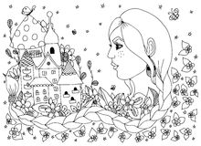 Vector Illustration zentangl Frau, Mädchen mit den Blumen, welche die Stadt betrachten Porträt eine lange Borte, Kamille, Schloss Lizenzfreie Stockbilder