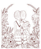Vector Illustration zentangl Freundin in einem Blumenrahmen, Gekritzel, Blumen, Spucken zurück Lizenzfreies Stockfoto