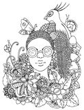 Vector illustration zentangl girl with African braids in the flowers. Doodle drawing pen. Coloring page for adult anti. Stress. Black and white Royalty Free Stock Photo