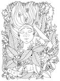 Vector illustration zentangl girl child with freckles is sleeping with cats in the flowers.  Stock Images