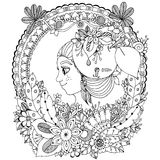 Vector illustration zentangl girl in the floral frame circle. Doodle drawing. Coloring book anti stress for adults Royalty Free Stock Image