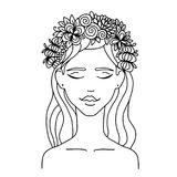 Vector illustration zentangl girl with flowers on her hear. Coloring book anti-stress for adults. Black and white. Vector illustration zentangl girl with Stock Photography