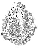 Vector illustration zentangl girl and mushroom in the flowers. Doodle drawing. Meditative exercises. Coloring book anti Royalty Free Stock Photos