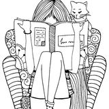 Vector illustration zentangl girl sitting in a chair reading a book. Doodle drawing.   Royalty Free Stock Photography