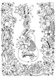 Vector Illustration zentangl Gitarre mit Blumenrahmen von Blumen, Akustik, Schnüre, Gekritzel, zenart Erwachsener Farbton Lizenzfreie Stockfotos