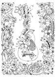 Vector Illustration zentangl Gitarre mit Blumenrahmen von Blumen, Akustik, Schnüre, Gekritzel, zenart Erwachsener Farbton Lizenzfreies Stockfoto