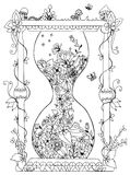 Vector illustration zentangl hourglass with flowers. Time, flowering, spring, doodle, zenart, summer, mushrooms,  nature. Vector illustration zentangl hourglass Stock Images