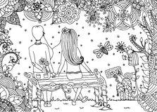 Vector illustration zentangl, loving couple sitting on a bench in a flower garden. Doodle drawing. Meditative exercises. Coloring book anti stress for adults Royalty Free Stock Photography