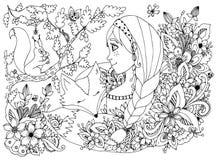 Vector Illustration zentangl Mädchen mit den Sommersprossen, die das Eichhörnchen, Schlafengesicht in den Blumen betrachten Karik Lizenzfreies Stockfoto