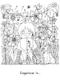 Vector Illustration zentangl Mädchen mit den Sommersprossen, die in den Blumen auf dem Gras mit einem Hundefoxterrier sitzen gekr Stockfoto