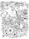 Vector Illustration zentangl Mädchen mit Sommersprossen in den Blumen mit einem Apfel auf seinem Kopf Lizenzfreies Stockfoto