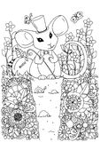 Vector illustration zentangl a mouse in a hat sitting in the flowers. Doodle drawing. Meditative exercise. Coloring book Stock Photos