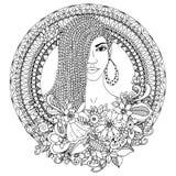 Vector Illustration zentangl, Mulattefrau mit den Borten, die im runden mit Blumenrahmen afrikanisch sind gekritzel Malbuch Anti stock abbildung