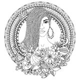 Vector illustration zentangl, mulatto woman with braids African in the floral round frame. Doodle. Coloring book anti Stock Photos